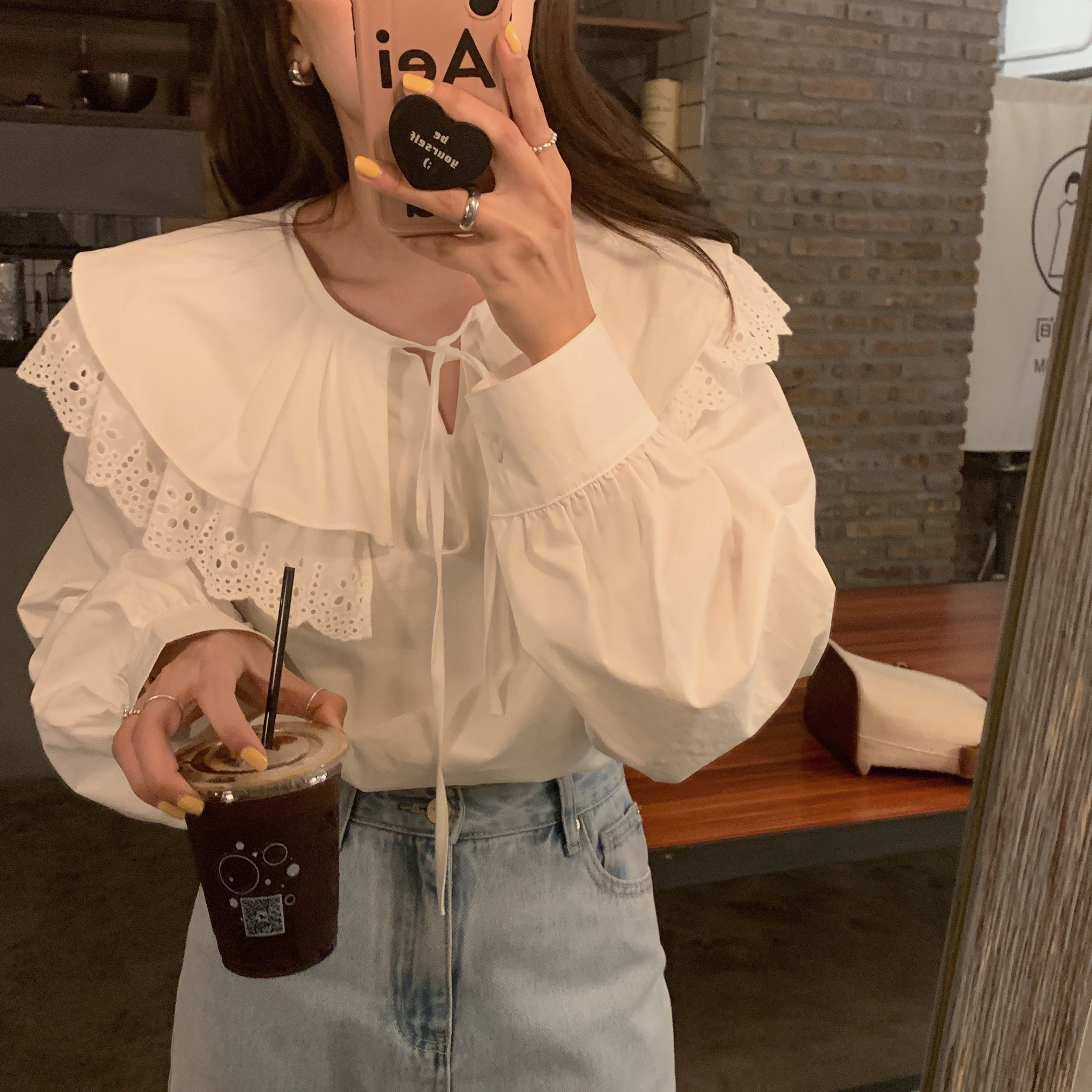 Hcb43b7bfb0064ce59b9f15a50f41e1791 - Spring / Autumn Korean Lace-Up Hollow Out Collar Long Sleeves Loose Solid Blouse