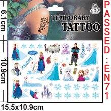 1pcs Cute cartoon character animal tattoo sticker Minnie Pooh bear Princess Pony Frozen Mermaid birthday party decoration