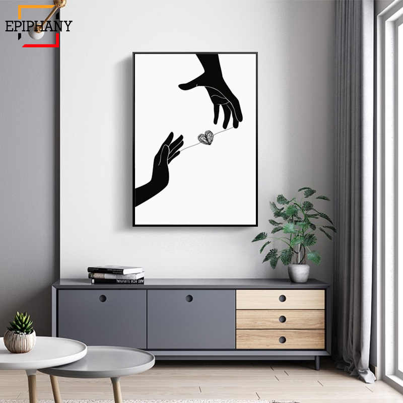 Black and White Heart Canvas Posters Dandelion Abstract Minimalist Wall Art Painting Nordic Decoration Picture Modern Home Decor