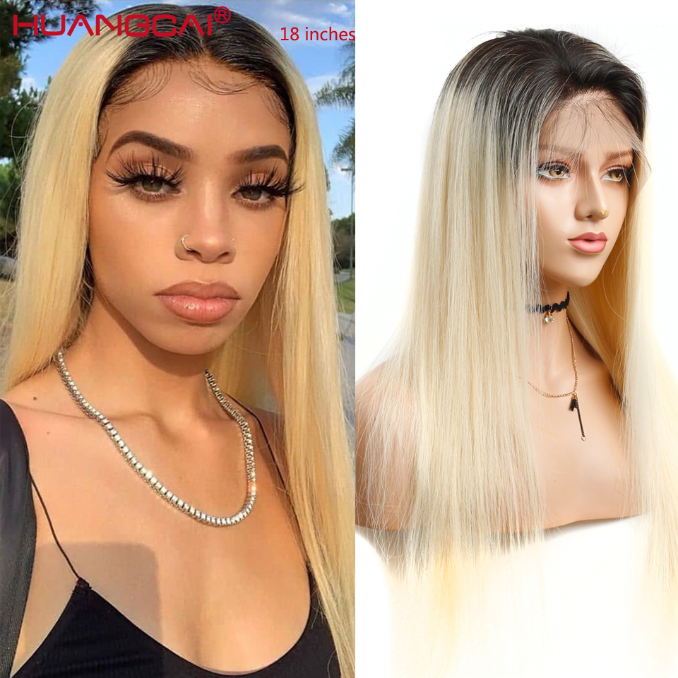 Ombre T1B/613 Lace Front Human Hair Wigs Peruvian Straight 613 Blonde Lace Front Wig Pre Plucked Lace Wig Remy Hair 26 Inch image