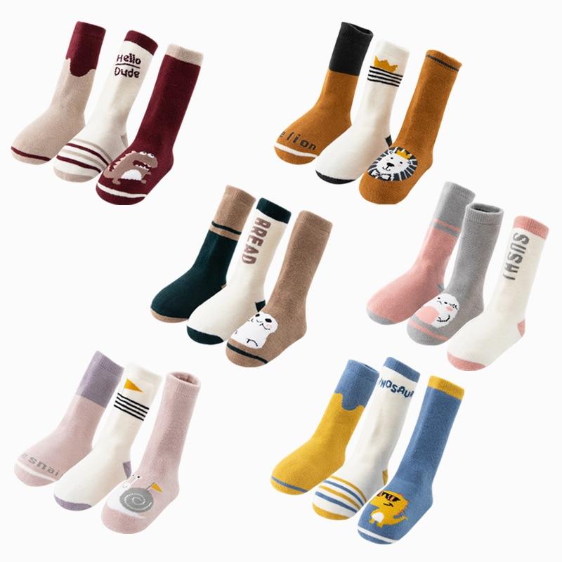 3 Pairs/Lot Newborn Baby Winter Anti Slip Socks Kids Boys Girls Robot Cartoon Loose Thick Socks Children Clothing Accessories