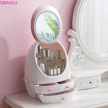 Net Red Cosmetic Storage Box with LED Light Mirror Drawer Portable Desktop Dust-free Skin Care Product Shelf