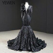 Dubai noir col rond manches longues robes de soirée 2020 sirène paillettes perles de luxe robe formelle YEWEN 67116