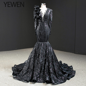 Image 1 - ดูไบสีดำ O Neck เสื้อแขนยาวชุดราตรี 2020 Mermaid Sequined ประดับด้วยลูกปัดหรูหราอย่างเป็นทางการ YEWEN 67116