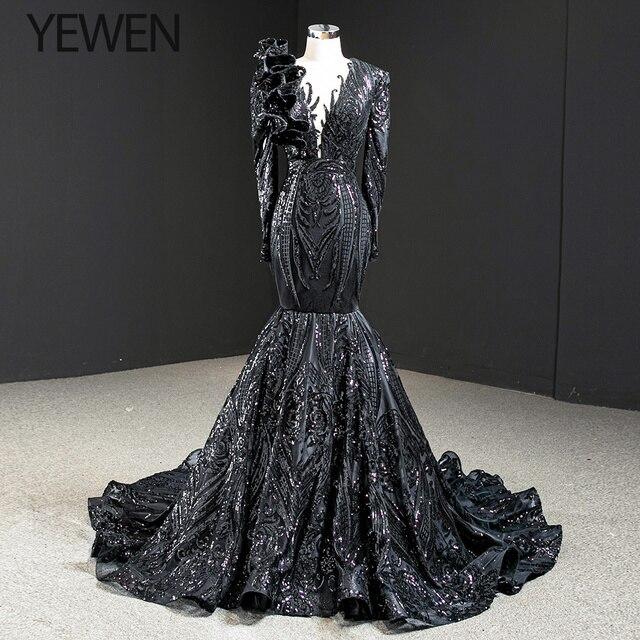 ดูไบสีดำ O Neck เสื้อแขนยาวชุดราตรี 2020 Mermaid Sequined ประดับด้วยลูกปัดหรูหราอย่างเป็นทางการ YEWEN 67116
