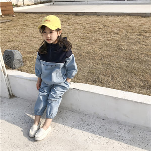 Image 1 - 2019 Autumn New Arrival Korean style clothing sets letters printed hooded matching coat with long pants fashion suit for girls