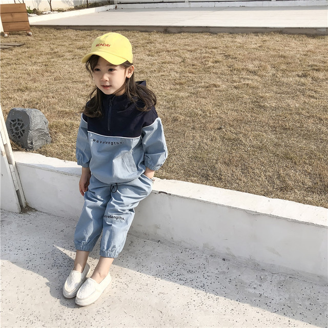 2019 Autumn New Arrival Korean style clothing sets letters printed hooded matching coat with long pants fashion suit for girls