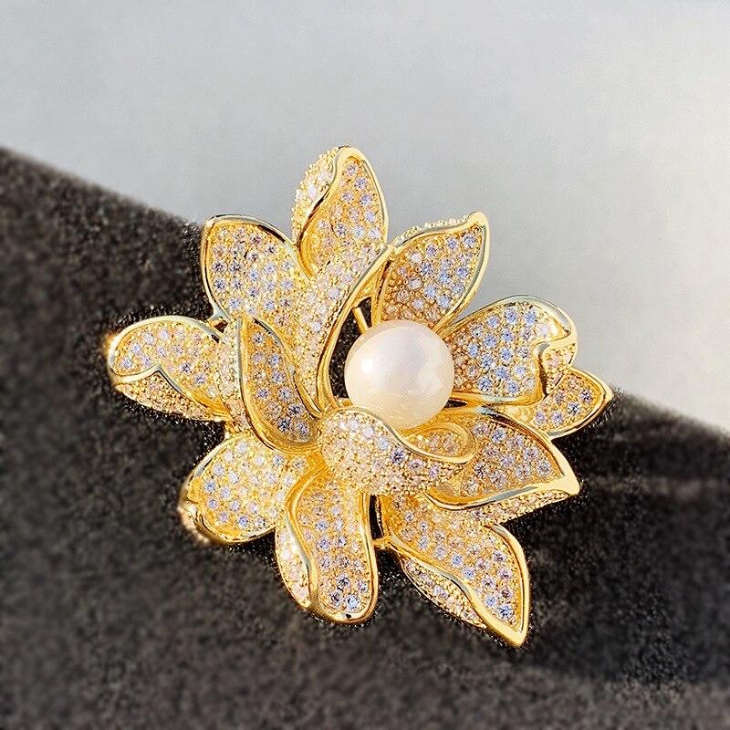 Pearl Lotus Brooch Korean Version Of Seiko Copper Micro-inlaid Zircon Pin Autumn And Winter Clothes Corsage