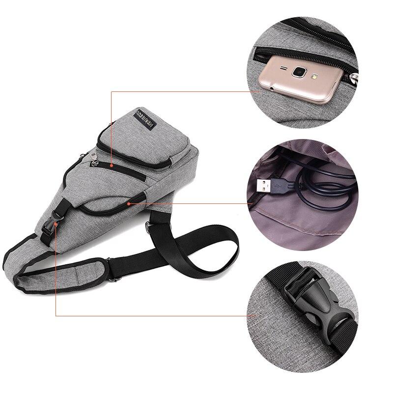 Купить с кэшбэком Acoki USB Charging Shoulder Crossbody Bag Men Burglar Stealth Zipper Electronic Kit Chest Pack Repellent bag Anti-theft Pack