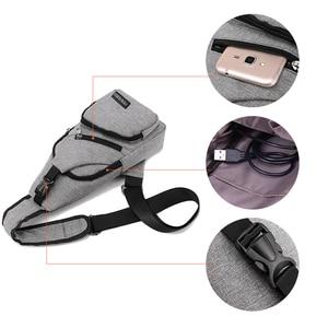 Image 5 - Acoki USB Lade Schulter Crossbody tasche Männer Einbrecher Stealth Zipper Elektronische Kit Brust Pack Abweisend tasche Anti diebstahl Pack