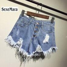 Новое поступление, Повседневная летняя Горячая Распродажа, джинсовые женские шорты с высокой талией, с меховой подкладкой, с вырезами, плюс размер, сексуальные короткие джинсы TJ1115