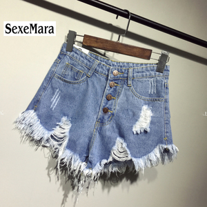 2017 new arrival casual summer hot sale denim women shorts high waists fur-lined leg-openings Plus size sexy short Jeans TJ1115