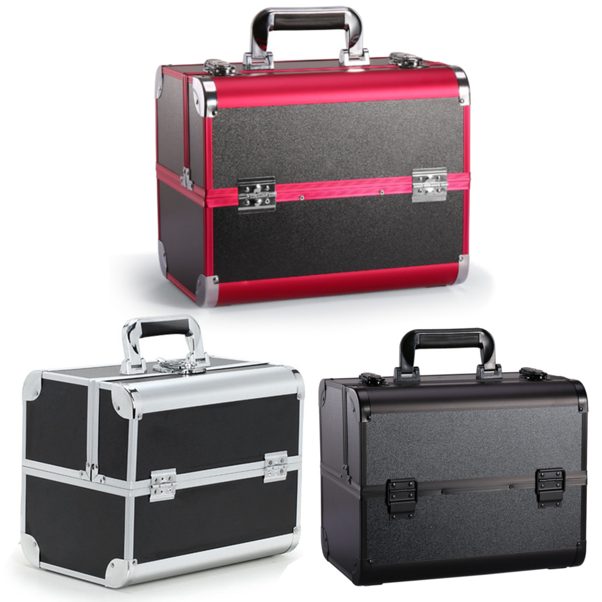 Caja de almacenaje para maquillaje de aluminio grande, organizador de cosméticos portátil, caja de joyería, organizador para mujer, cosméticos, cajas de maquillaje, bolsa, Maleta