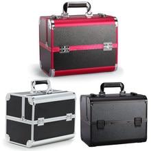 Large Aluminium Makeup Storage Box Portable Cosmetic Organizer Jewelry Box Women Organizer Cosmetics