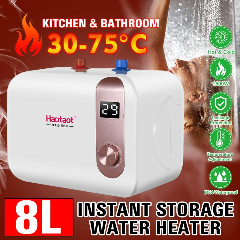 1500W Electric Water Heater Instant Tankless Water Heater 220V Temperature LCD Display Shower Faucet For Kitchen Bathroom
