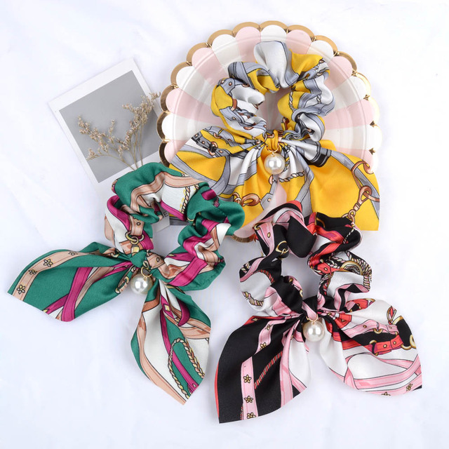 New Chiffon Bowknot Elastic Hair Bands For Women Girls Solid Color Scrunchies Headband Hair Ties Ponytail Holder Hair Accessorie 4