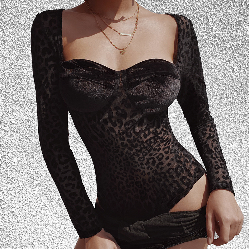 Sexy Sexy Low Neck Leopard Ladies Bodysuits Mesh Long Sleeve Blouse Body Women Jumpsuit Animal Printed Body Overalls For Women