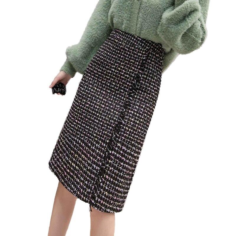 Korean Elegant Tassel Tweed Long Skirt Female 2019 Autumn Winter Colorful Plaid Woolen Midi Women Skirts Ladies Office Work Jupe