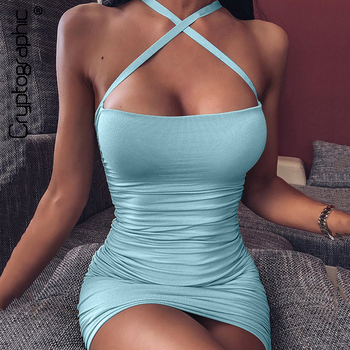 Cryptographic Elegant Sleeveless Criss-Cross Halter Mini Dresses Party Clubwear Fashion Sexy Backless Summer Bodycon Dress цена 2017