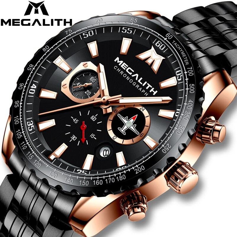 MEGALITH Sport Watch Men Aircraft Pointer Calendar Male Clock Full Steel Waterproof Pilot Series Quartz Watch Relogio Masculino