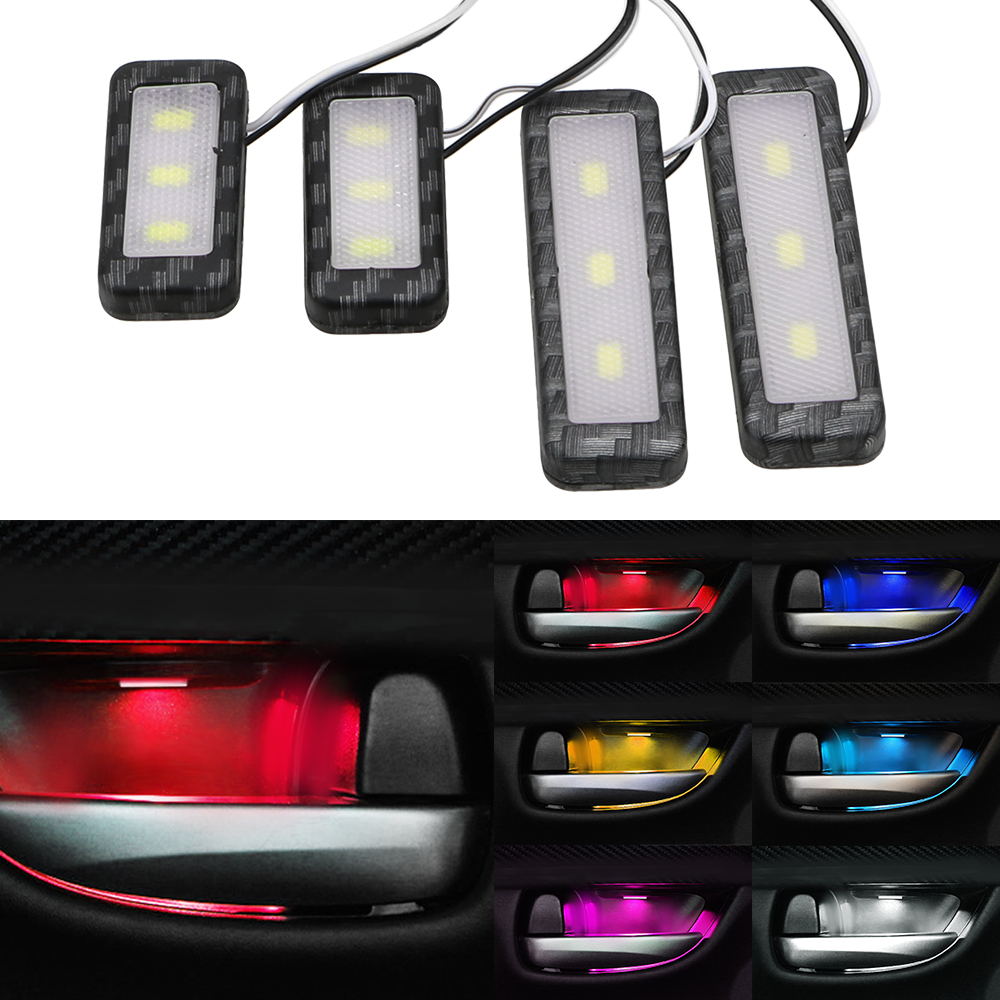 LEEPEE 4Pcs Decorative Lights Universal Auto Atmosphere Lamp Armrest Interior Door Handle Lighting LED Car Inner Bowl Light