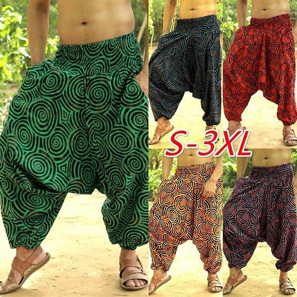 Baggy Cotton Linen Harem Pants Men Hip-hop Wide Leg Trousers Casual Vintage Long Pants Pantalones Hombre 2020 Spring Loose Pants