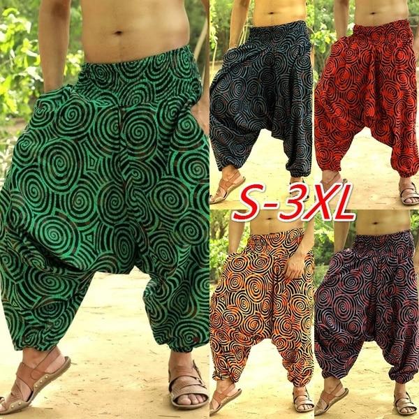 Fashion Wide Legs Ethnic Style Pants Men Casual Joggers Pants 2019 New Print Baggy Hip Hop Male Loose Pantalon Hombre Trousers
