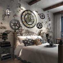 цена на Retro Wall Clock Steam Industry Style Wooden Wall Clock Art Decor Gear Roman Numerals Clocks Wall Adornment Home Decor
