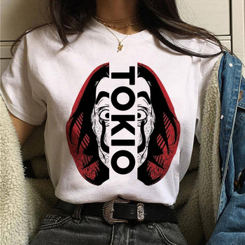 T-shirty damskie 2020 letnie ubrania La Casa De Papel t-shirty damskie ponadgabarytowe t-shirty damskie dom z papieru T-Shirt damski tanie i dobre opinie Modalne Krótki REGULAR Dzianiny Cartoon NONE Na co dzień O-neck Print conventional O-neck Fabric men t shirt O neck t-shirt