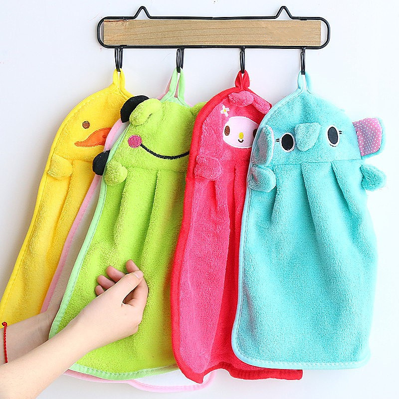 1PC New Baby Square Plush Bath Towel Baby Nursery Hand Towel Cartoon Animal Wipe Hanging Bathing Towel Hooded Towel For Kids