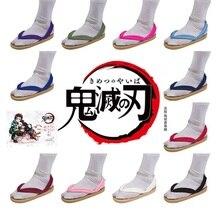 Kamado tanjiro nezuko cosplay sapatos demon slayer kimetsu não yaiba cosplay geta agatsuma zenitsu tomioka giyuu sapatos japão tamancos