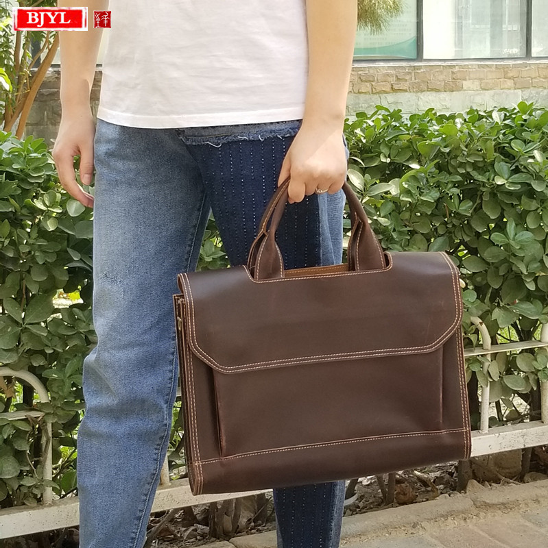 Real genuine leather Women handbag ladies business briefcase computer bag female literary 14 inch laptop shoulder messenger bags Shoulder Bags     - title=