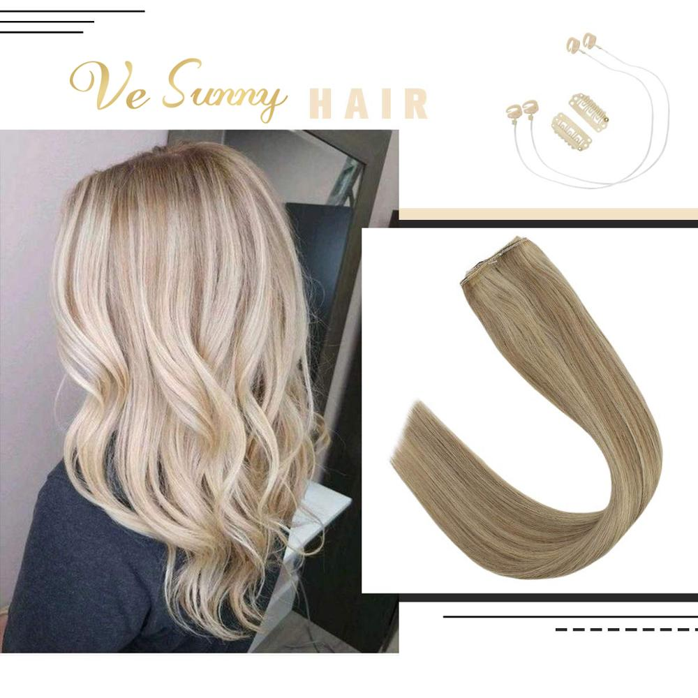 VeSunny Fishing Hair Invisible Halo Hair Extensions Real Human Hair Flip Wire With 2 Clips On Dark Blonde Highlighted #16/22