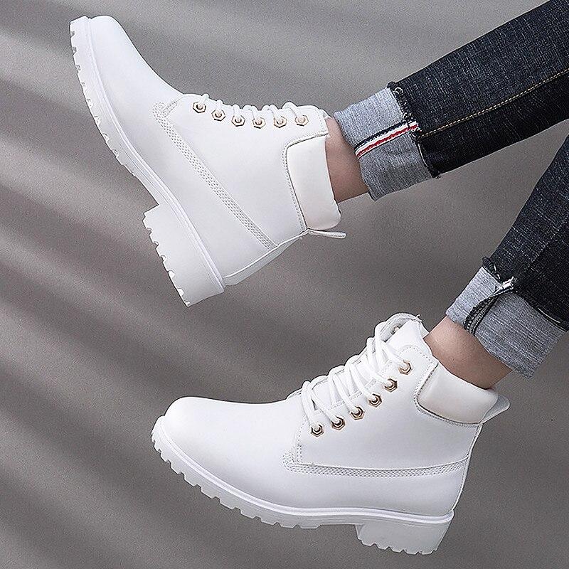 Botas de inverno sapatos femininos 2019 quente de pelúcia saltos quadrados botas de neve mulheres botas de tornozelo de renda sapatos de inverno mulher botas mujer