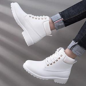Image 1 - 冬のブーツの女性靴2020ウォームぬいぐるみ正方形のかかとの女性雪のブーツの女性レースアップアンクルブーツ冬靴女性bota ş mujer
