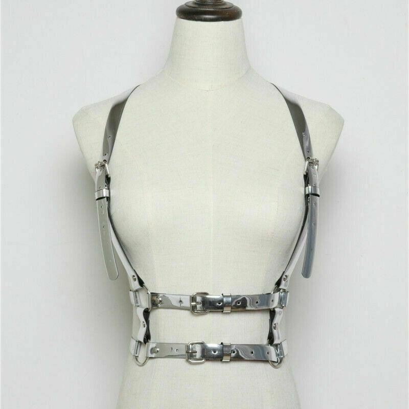Women's Vintage PU Leather Body Harness Adjustable Strap Waist Belt Vest Corset