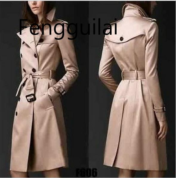 FENGGUILAI 2019 Autumn New Brand Women   Trench   Coat Long Windbreaker Europe America Fashion Trend Double-Breasted Slim Long Trenc