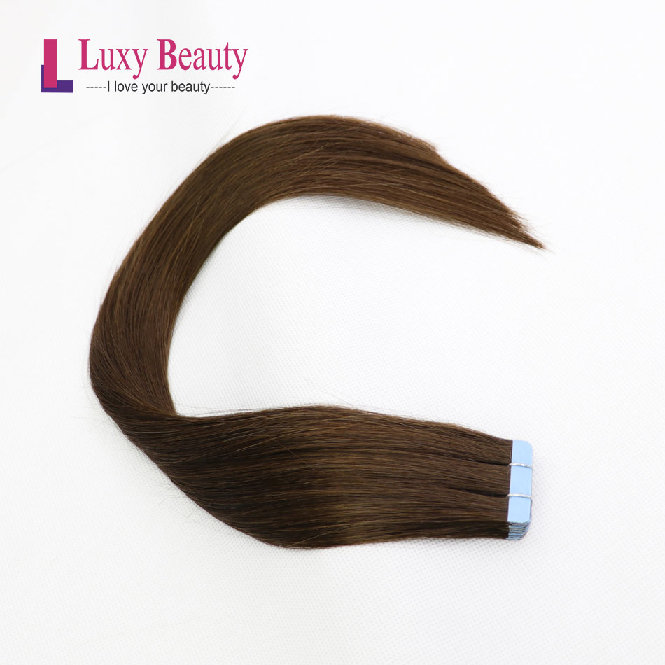 LuxyBeauty Remy Tape In Human Hair Extensions #2 Darkest Brown 1.5g/pc Straight Skin Weft Hair On Adhesive 14