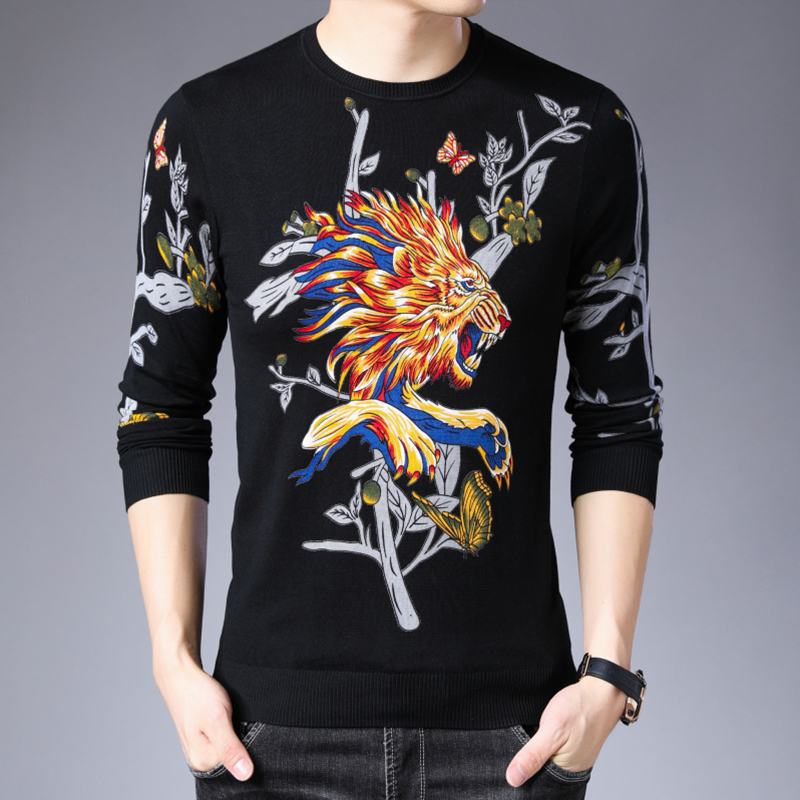 Men Round Neck Slim Fit Pull Homme Sueter Para Hombre Party Outfit Animal And Plant Printed Sweater Erkek Kazak Knitted Sweater