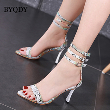 BYQDY 2020 Summer Fashion Fetish Serpentine Sandles Gladiator Shoes Woman Peep Toe Cover High Heels Sandals Ankle Strap Shoes mabaiwan women summer boots denim sandals peep toe ankle botas high heels gladiator wedge shoes woman height increasing wedges