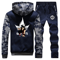 Dragon Ball DragonBall Z Anime Sweatshirt Thick Hoodies Men Winter Warm Suit Coat Japanese Camouflage Jacket+Pants 2 Piece Sets
