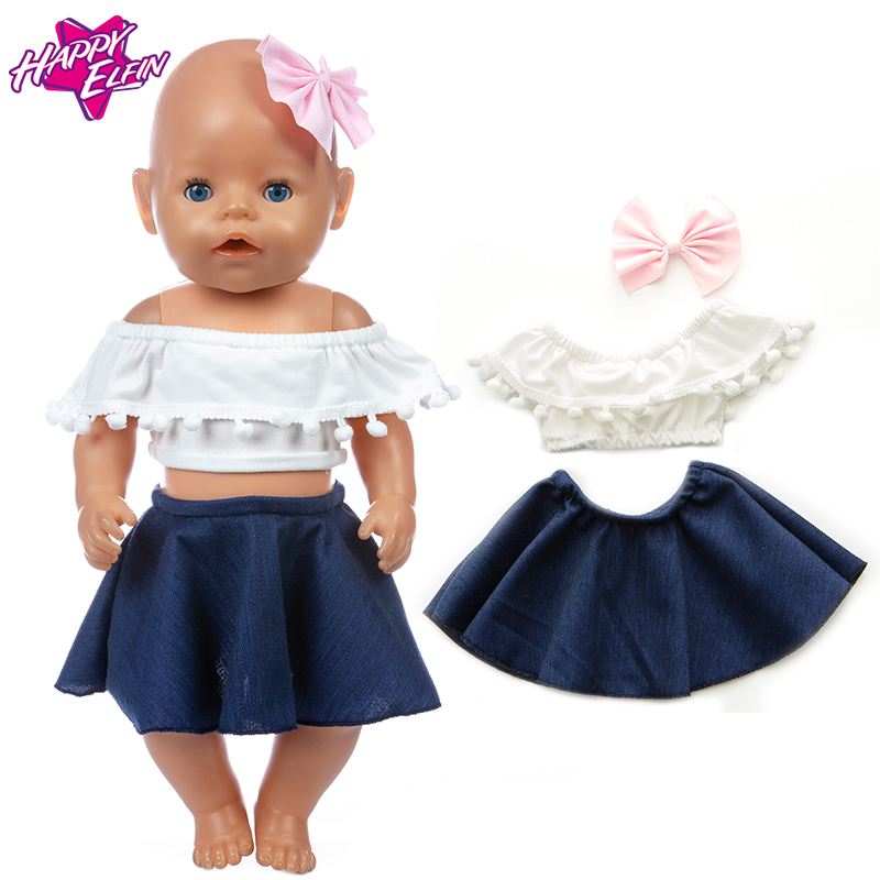 Spring 2020 New Denim Skirt Set Fit For 43cm Zapf Baby Re-born Doll 17 Inch Doll Clothes