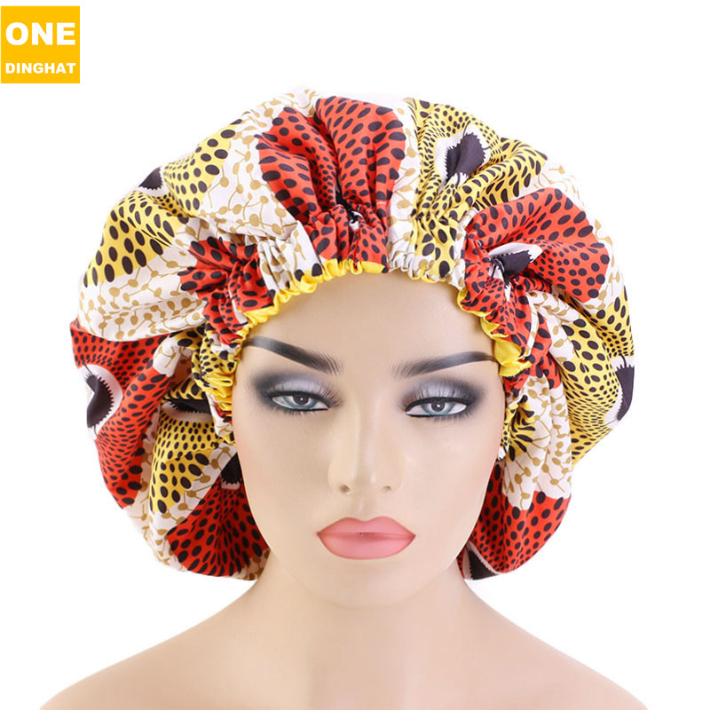 New Extra Large Size African Pattern Print Ankara Bonnets Women Satin Lined Headwrap Bonnets Night Sleep Cap Hair Loss Cover