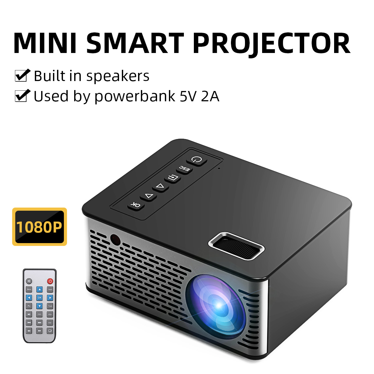 UNIC Projector-Support UC26 Theater Mini Outdoor Led Home Full-Hd 1080P Lumens 600 LCD title=