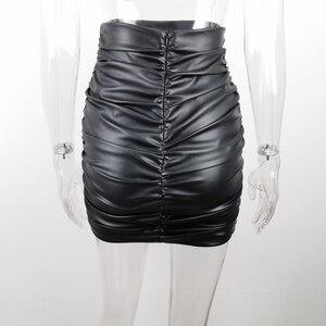 Image 4 - JillPeri kadın PU deri Kylie etek seksi dantelli yüksek bel siyah kısa Mini alt streç tatil parti etek