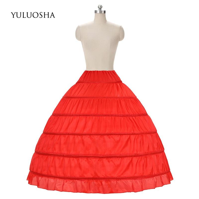 YULUOSHA Wedding Accessories Petticoat Long Crinoline Underskirt 6 Hoops Skirt Petticoat Red Tulle Dress Bridal Lolita Petticoat
