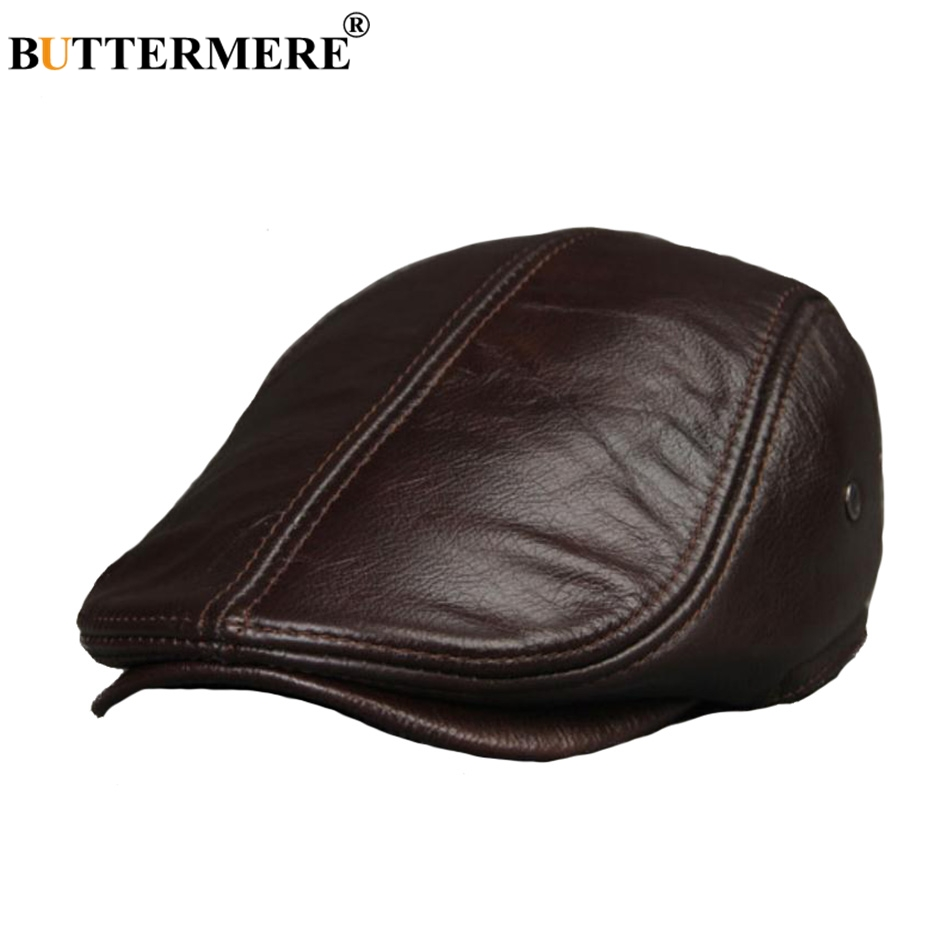 BUTTERMERE Men Leather Berets Coffee Duckbill Ivy Caps Male Fitted Flat Hat Genuine Leather Luxury Winter Warm Painters Hat