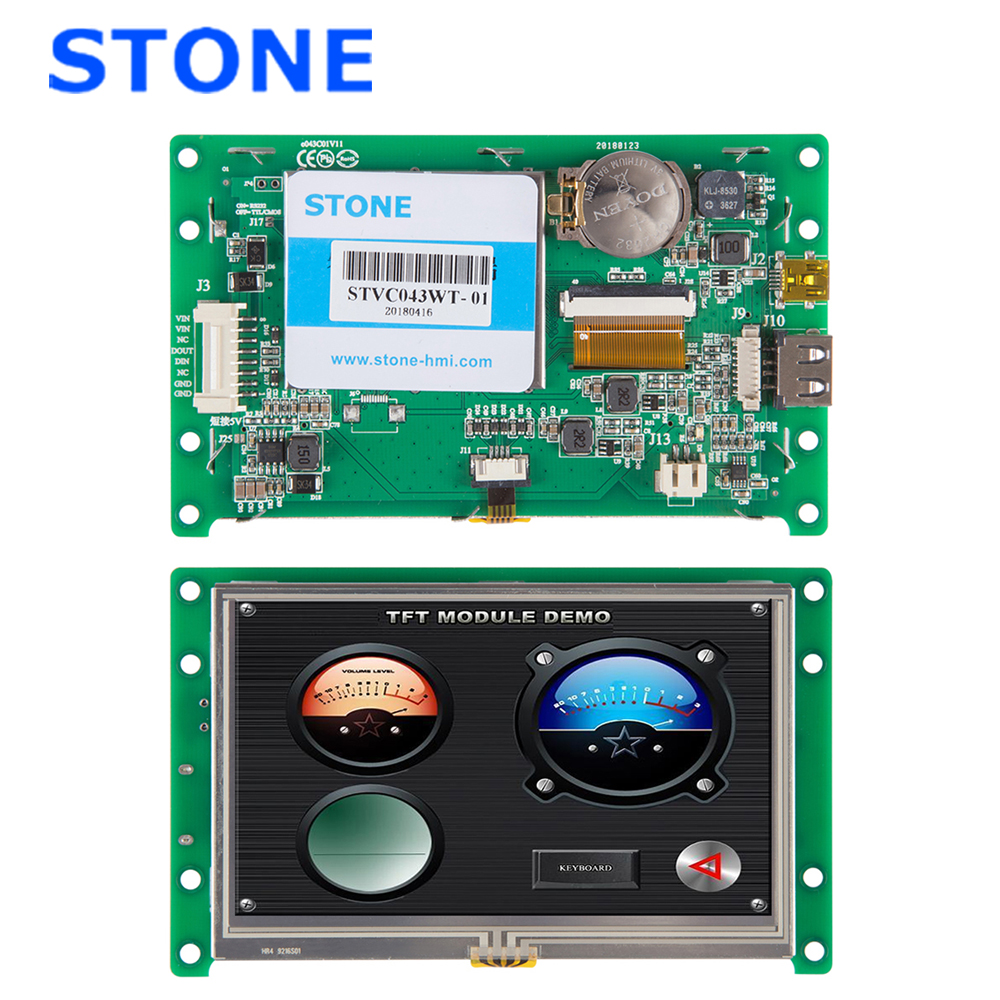 <font><b>4.3</b></font> <font><b>Inch</b></font> HMI LCD Display with Driver + Controller + Develop Software + RS485 RS232 TTL UART Interface STVC043WT-01 image