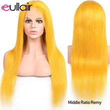 eullair 13x4 Yellow Lace Front Wigs Pre Plucked Hairline Straight Lace Front Human Hair Wig Colored Human Hair Wigs 150 Density(China)