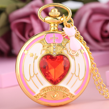 Sailor Moon Pink Cat Ornament Pocket Watch Female Slim Chain Necklacs Stylish Heart-shaped Diamond Case Pendant  Girls Necklace kyszdl wholesale 2 pcs high quality sailor moon power necklace magic pentacle necklace sailor moon jewelry cute for baby girls
